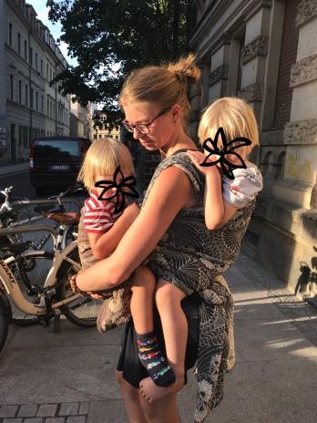 Tandem Tragen mit meinen Kindern